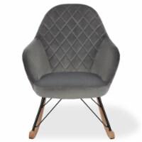Little Seeds Monarch Hill Dahlia Nursery Rocker Chair, Gray Chenille - 27.00 x 36.63 x 34.50