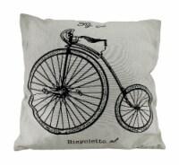 White High Wheeler Bicyclette Vintage Penny-Farthing Bicycle Throw Pillow 17 In. - Medium