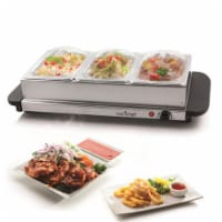 NutriChef Portable 3 Pot Electric Hot Plate Buffet Warmer Chafing Serving Dish - 1 Unit