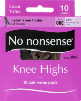 No Nonsense Knee High Stockings - 10 pk - Tan