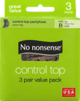 No Nonsense Control Top Pantyhose - 3 pk - Tan