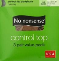 No Nonsense Control Top Pantyhose - 3 Pack - Tan