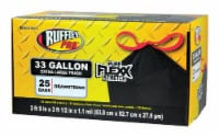 Ruffies Pro 33 gal. Trash Bags Drawstring 25 pk - Case Of: 6; Each Pack Qty: 25; Total Items - Case of: 6