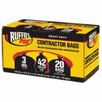 Berry Plastics 1190270 20 Pack, 42 Gallon, Black Contractor Bag - 20