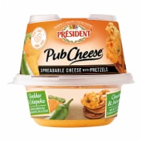 President Pub Cheese Cheddar and Jalapeno Spreadable Cheese with Pretzels