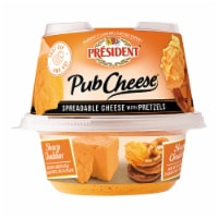 President Spreadable Sharp Cheddar Cheese with Pretzels - 3 oz