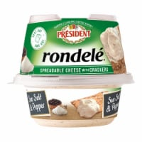 President Rondele Sea Salt & Pepper Spreadable Cheese with Crackers