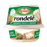 President Rondele Garlic & Herbs Spreadable Cheese with Crackers