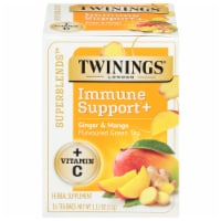 Twinings® of London Immune Support+ Ginger & Mango Flavored Green Tea - 16 ct