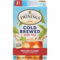 Twinings of London Cold Brewed Iced English Classic Unsweetened Black Tea Bags 20 Count