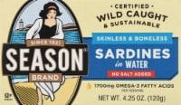 Season Brand Skinless & Boneless No Salt Added Sardines in Water