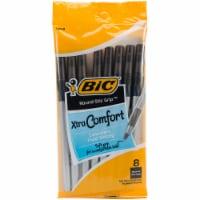 BIC Round Stic Grip Xtra-Comfort Medium Point Pens - 8 Count - Black - 8 Count