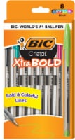 BIC Cristal Xtra-Bold Ball Point Pens - 8 Pack - Assorted