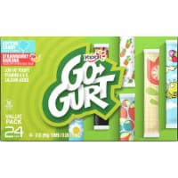 Go-Gurt Cotton Candy & Strawberry Banana Low Fat Yogurt Tubes Variety Pack 24 Count