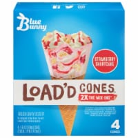 Blue Bunny Load'd Cones Strawberry Shortcake Flavored Frozen Dessert Cones 4 Count