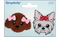 Simplicity Applique Iron-On Grey & Brown Puppies with Bows Patch - 2 pc