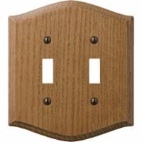Amerelle Country 2-Gang Solid Oak Toggle Switch Wall Plate, Medium Oak 701TT