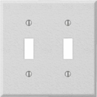 Amerelle PRO 2-Gang Stamped Steel Toggle Switch Wall Plate, White Wrinkle