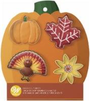 Metal Cookie Cutter Set 4/Pkg-Pumpkin, Leaf, Sunflower, Turkey - 1