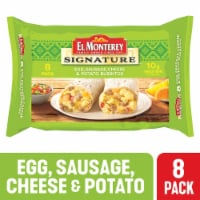 El Monterey Signature Egg Sausage Cheese & Potato Burritos 8 Count