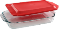 Pyrex® Sculpted Oblong Dish with Lid - Red/Clear