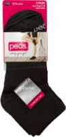 Peds Women's Flat Knit Quarter Socks - 2 Pack - Black - 9-11