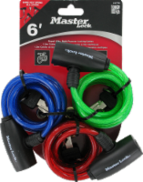 Master Lock Keyed Cable Lock - 3 Pack - Assorted - 5/16 in x 6 ft
