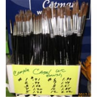 Crayola 102112 1121 Round Natural Camel Hair Polished Wood Handle Watercolor Paint Brush, Siz