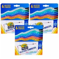 Crayola BIN588351 Project Markers, 6 Glitter Color