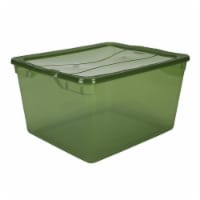 Bon Rubbermaid 71 Quart Clever Store Clear Lime Green Storage Container