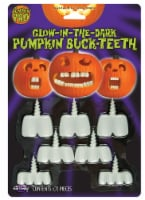 Fun World Pumpkin Pro Glow-in-the-Dark Pumpkin Buck-Teeth - White