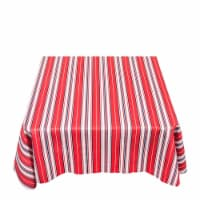 Carnation Home Fashions DFLN-52-PS 60 in. USA Round Vinyl Flannel Backed Tablecloth in Red, W