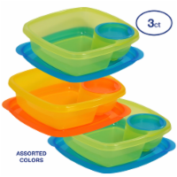 Take A Dip 2 Side Food Storage Lunch Snack Container 2oz Dip Section 3pk - 3 Count