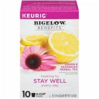 Bigelow Benefits Lemon & Echinacea Herbal Tea K-Cup Pods 10 Count