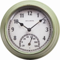 Acu-Rite Outdoor Clock with Thermometer - Rustic Green