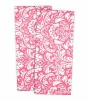 DII Pink Damask Dishtowel (Set of 2) - 1
