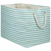 Design Imports CAMZ10087 Rectangle Paper Bin - Pinstripe Aqua, 15 x 10 x 12 in.