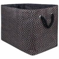 Design Imports CAMZ10103 Paper Bin - Diamond Basketweave Stone & Black, 15 x 10 x 12 in.