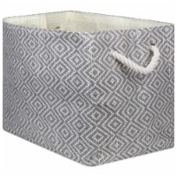 Design Imports CAMZ10107 Paper Bin - Diamond Basketweave Gray & White, 17 x 12 x 12 in.