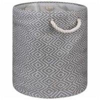 Design Imports CAMZ10160 Paper Bin - Diamond Basketweave Gray & White, 17 x 14 x 14 in.