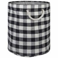 Design Imports CAMZ10166 Round Paper Bin - Checkers Black, Medium