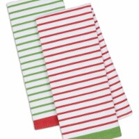 Design Imports Assorted Christmas Candy Stripe Dish Towel Set - Set of 2
