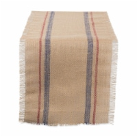 DII French Blue / Barn Red Double Border Burlap Table Runner - 1