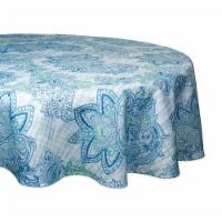 Design Imports CAMZ10389 60 in. Round Blue Watercolor Paisley Print Outdoor Tablecloth - 1