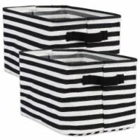 DII Pe Coated Herringbone Woven Cotton Laundry Bin Stripe Black Rectangle Large  (Set of 2) - 1