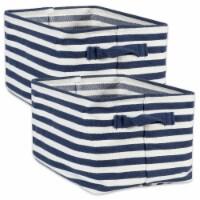 Herringbone Woven Cotton Laundry Bin Stripe French Blue Rectangle Large  (Set of 2) - 1