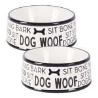 Design Imports CAMZ10522 Black Dog Text Ceramic Medium Pet Bowl - Set of 2 - 1