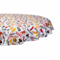 Design Imports CAMZ11190 60 in. BBQ Fun Print Outdoor Round Tablecloth with Zipper - 1
