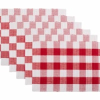 Design Imports CAMZ11248 Red & White Buffalo Check Ribbed Placemat - Set of 6