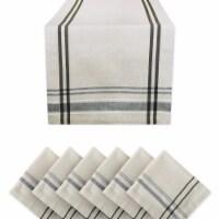 Design Imports KCOS11329 French Stripe Table Napkin Set, Black - Set of 7 - 1